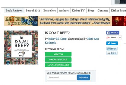 Kirkus Book Review of IS GOAT BEEF?